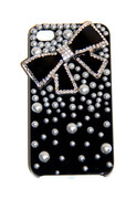 Black iPhone Case with Black Bow and Pearls