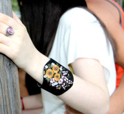 Embroidered Suede Cuff with Flower Design