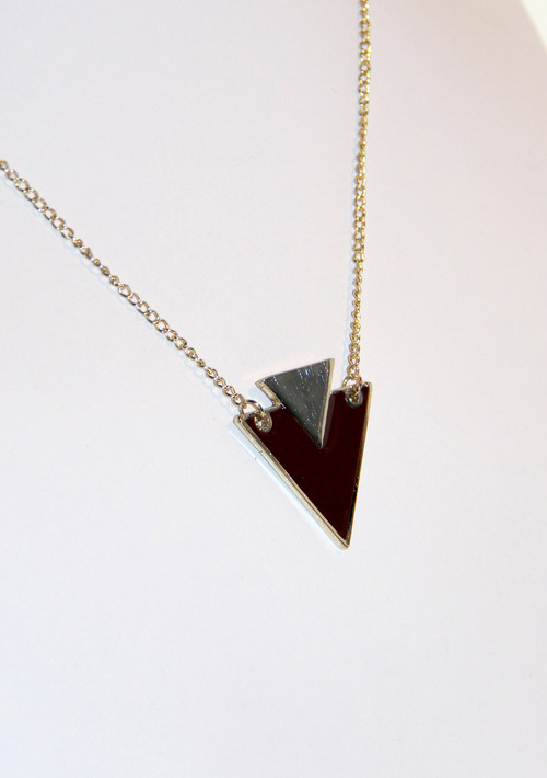 Gold and Plum Art Deco Arrow Necklace
