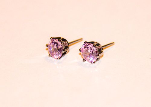 Pink Cristal Clear Sparkler Studs Cubic Zirconia Post Earrings