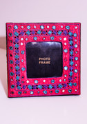 Fuchsia Picture Frame with Indian Mirrors