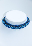 Blue ZigZag Beaded Chocker