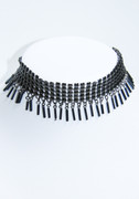 Hematite Colored Mesh Necklace with Beaded Fringe Drops