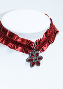 """Scarlet Flower"" Black Diamond and Ruby Rhinestone Pleated Choker Necklace"