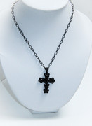Rough Black Cross Charm Necklace