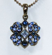 Blue Rhinestone Pendant Necklace with Antique Bronze Finish