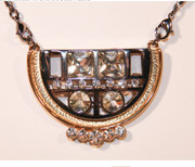Art Deco Eleanor Rhinestone Necklace with Silver and Golden Accents