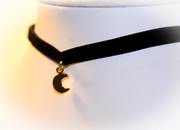 Celestial Golden Crescent Choker Necklace