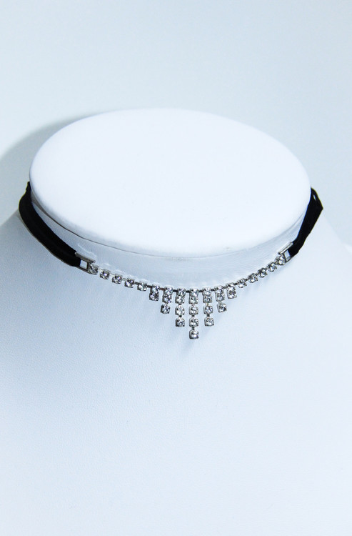 Rhinestone Choker with Black Velvet Ribbon