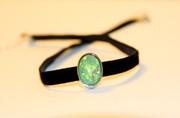 Green Milky Opal Black Velvet Choker