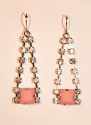 Rhinestone Drop Earrings with Pink STone
