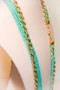 Turquoise Green Long Beaded Necklace with Golden Chain Accent