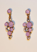 Lavender Purple Bubble Mosaic Drop Earrings with Rhinestones