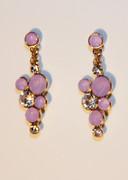 Lavender Purple Bubble Mosaic Drop Earrings with Rhinestones
