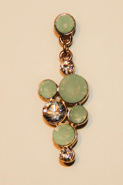Mint Green Bubble Mosaic Drop Earrings with Rhinestones