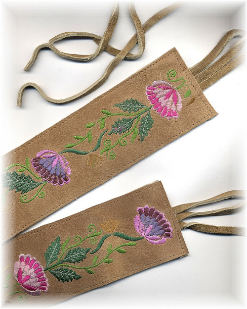 Embroidered Flower Tie Belt