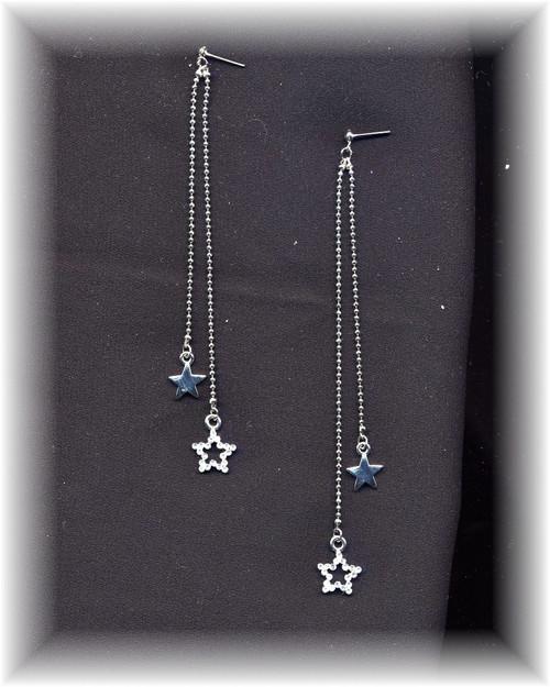 Long Rhinestone Star Earrings