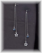Long Rhinestone Star Earrings
