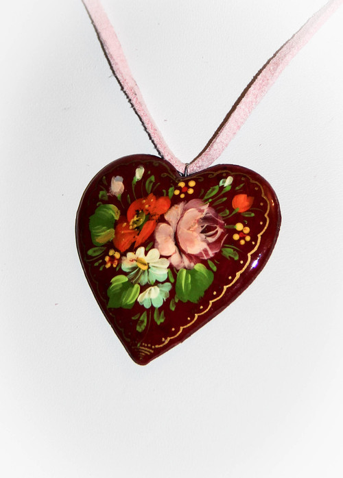 Pink Rose Hand Painted Heart Necklace