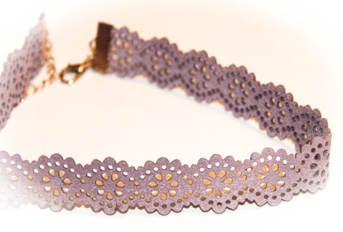 Pink Nude Lace Cut-Out Leather Choker