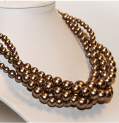 Matte Copper Gold Multi-Row Dress Up Necklace