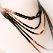Black and Gold Layered Long Chain Necklace