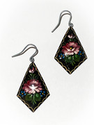 Russian Hand-Painted Dusty Pink/Burgundy Flower Wooden Earrings