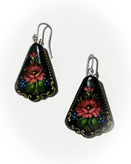Russian Hand-Painted Black Earrings with Burgundy Red Flowers