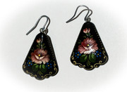 Russian Hand-Painted Black Earrings with Dusty Pink Flowers
