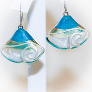 """ Barbados Blues "" Glass Earrings"