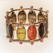 """"""" Pink Hues of Sedona """" Mother of Pearl and Rhinestones Stretch Bracelet"""