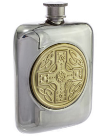 """Celtic Shield Flask - Polished, Gold Accent- 4.5"""""""