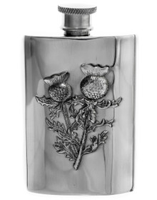 Thistle Pewter Flask