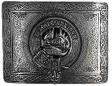 Douglas Clan emblem centered on a pewter belt buckle. Square shape.
