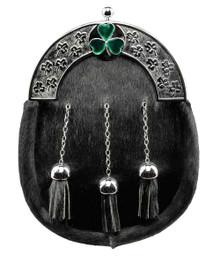 Black Formal Dress Sporran - Irish Shamrock