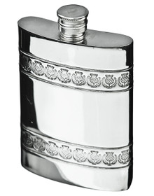 Thistle Band Flask w/Funnel & Gift Box - FL44P