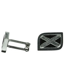 Scottish Flag Cuff Links - Saltire - Polished Pewter - KCL16P
