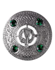 Irish Harp Brooch with Green Stones