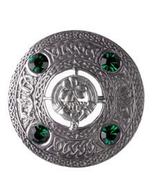 Irish Claddagh Brooch with Green Stones