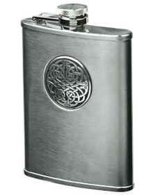 Brushed Stainless Steel Flask- Celtic Knot