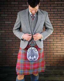 Customizable Light Grey Tweed Suit Package
