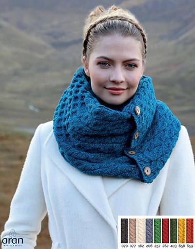 Merino Wool Button Snood Scarf A518 Image