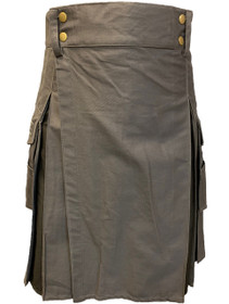 Grey Utility Kilt with Black Pleats Front Image