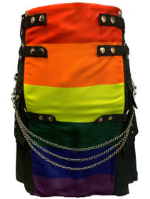 Black and Chrome Utility Kilt with Rainbow Panel on Front image