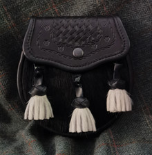 Embossed Black Springbok Day Sporran with White Nguni Tassels