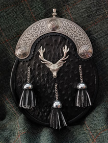 Three Shield Stag Black Ostrich Sporran