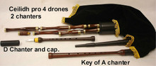 Gibson 4 Drone Ceilidh Pro Pipes Key of both A & D