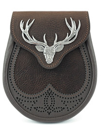 GML10M - Saddle Leather Sporran - Large Stag Mount - Matte