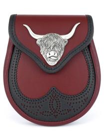 GML11M - Coo Ox Blood Saddle Leather Semi-Formal Sporran