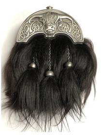 GMDR26M - Long Hair Black Coo Formal Sporran - Matte